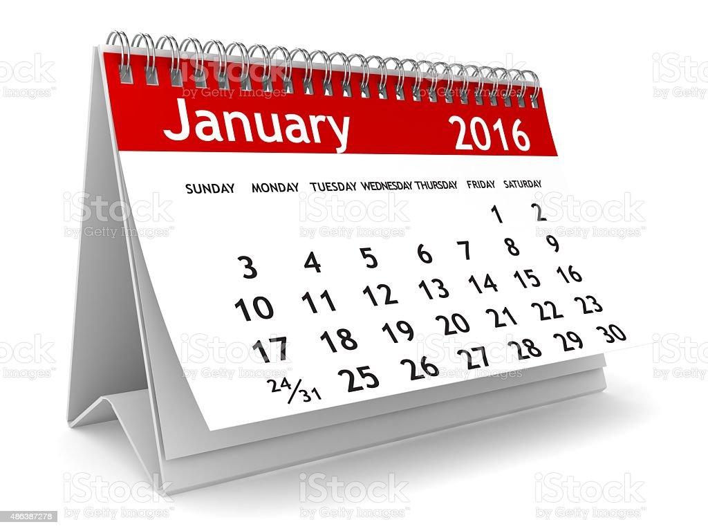 January 2016 calendar stock photo