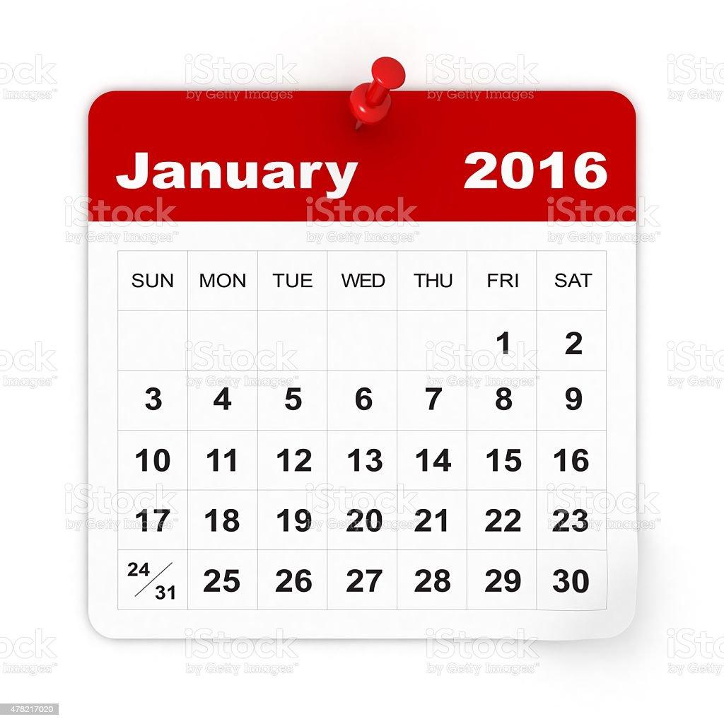 January 2016 - Calendar series stock photo