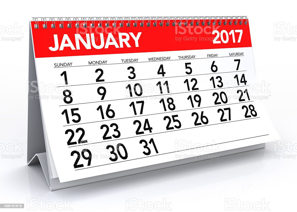 January 2017 Calendar stock photo