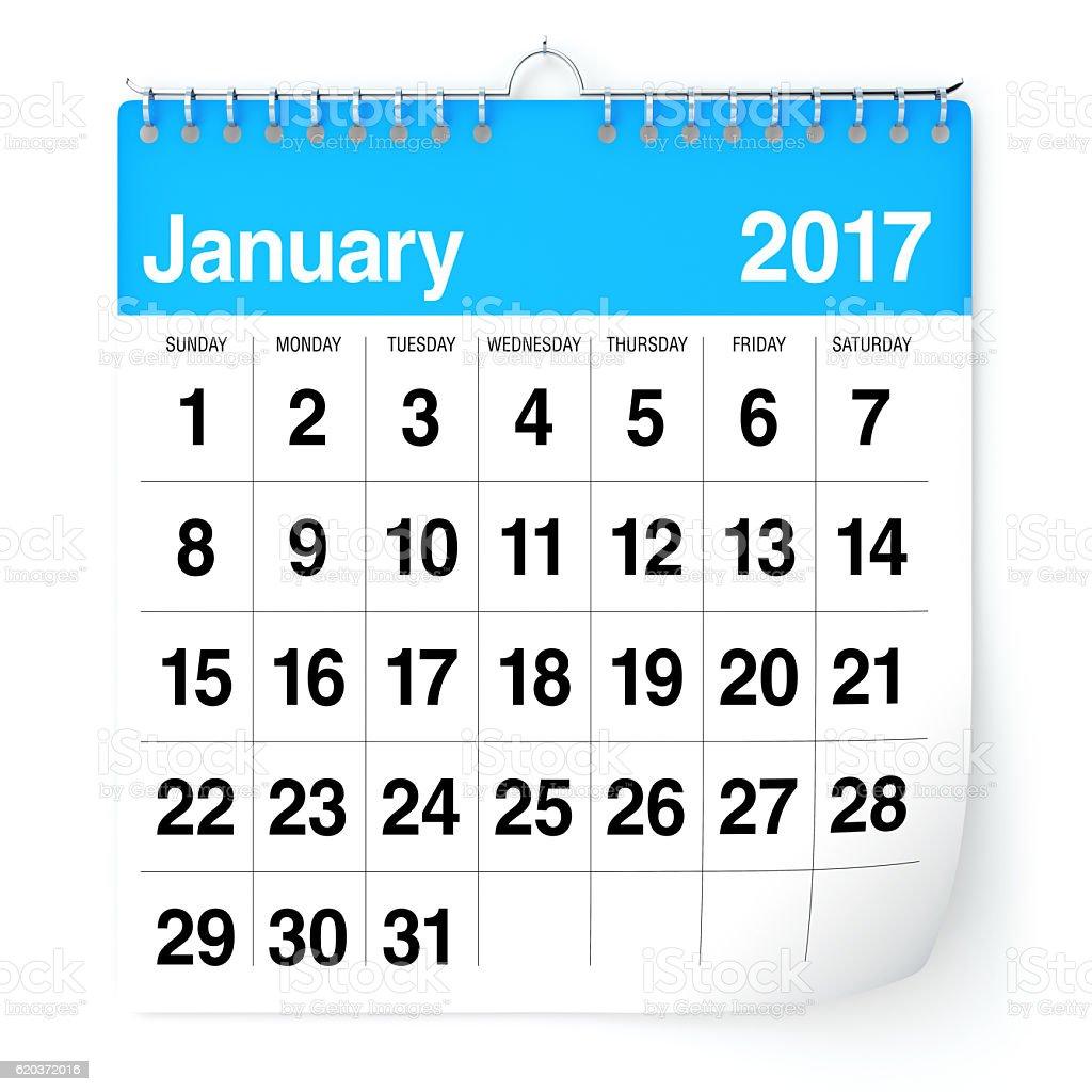 January 2017 - Calendar stock photo