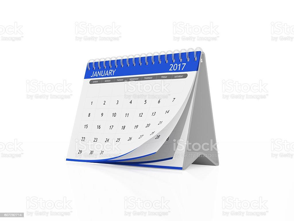 January 2017 Desktop Calendar on White Background stock photo