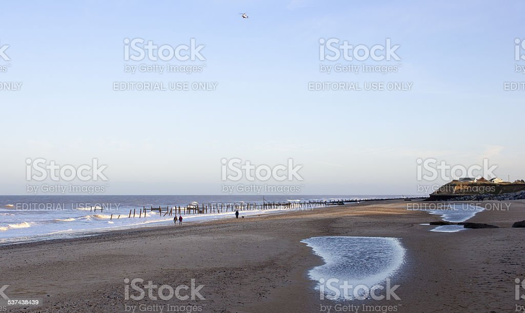 January on Happisburgh beach, Norfolk, UK stock photo