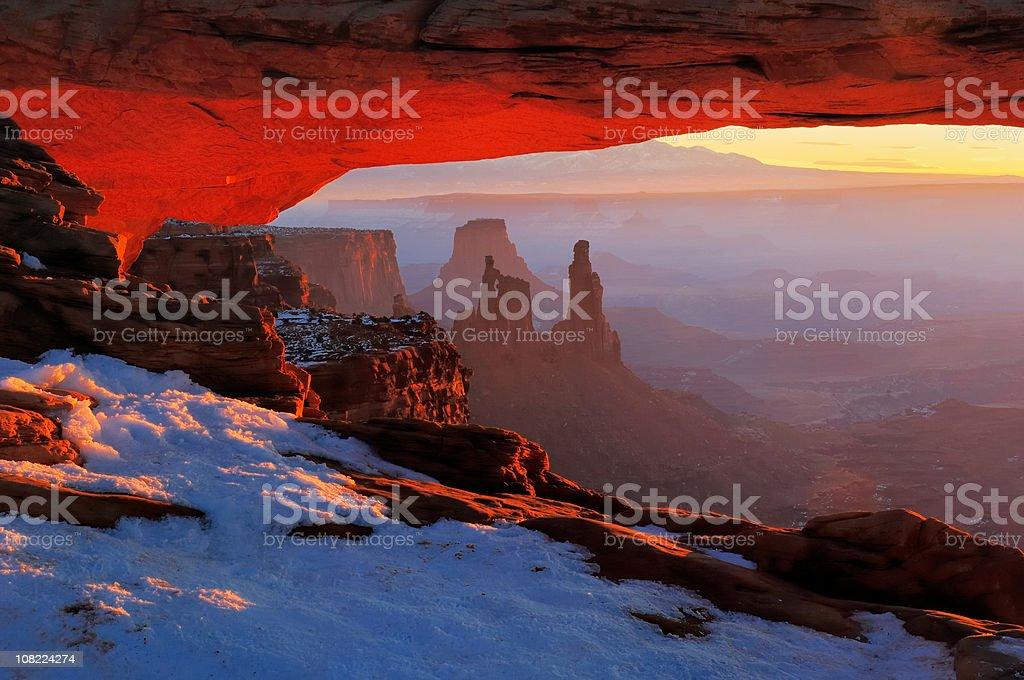 January Sunrise at Mesa Arch stock photo