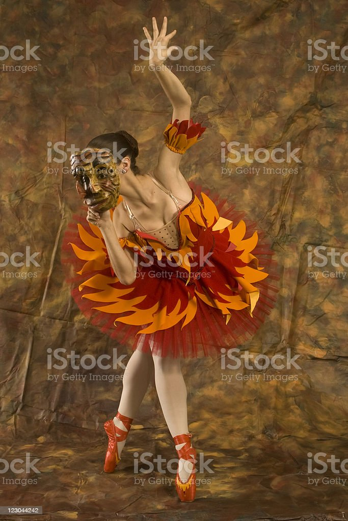Janus Ballerina in a Firebird Costume royalty-free stock photo
