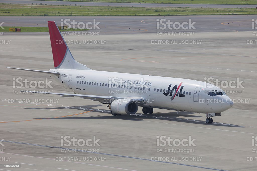Japan Airlines Boeing 737-400 royalty-free stock photo