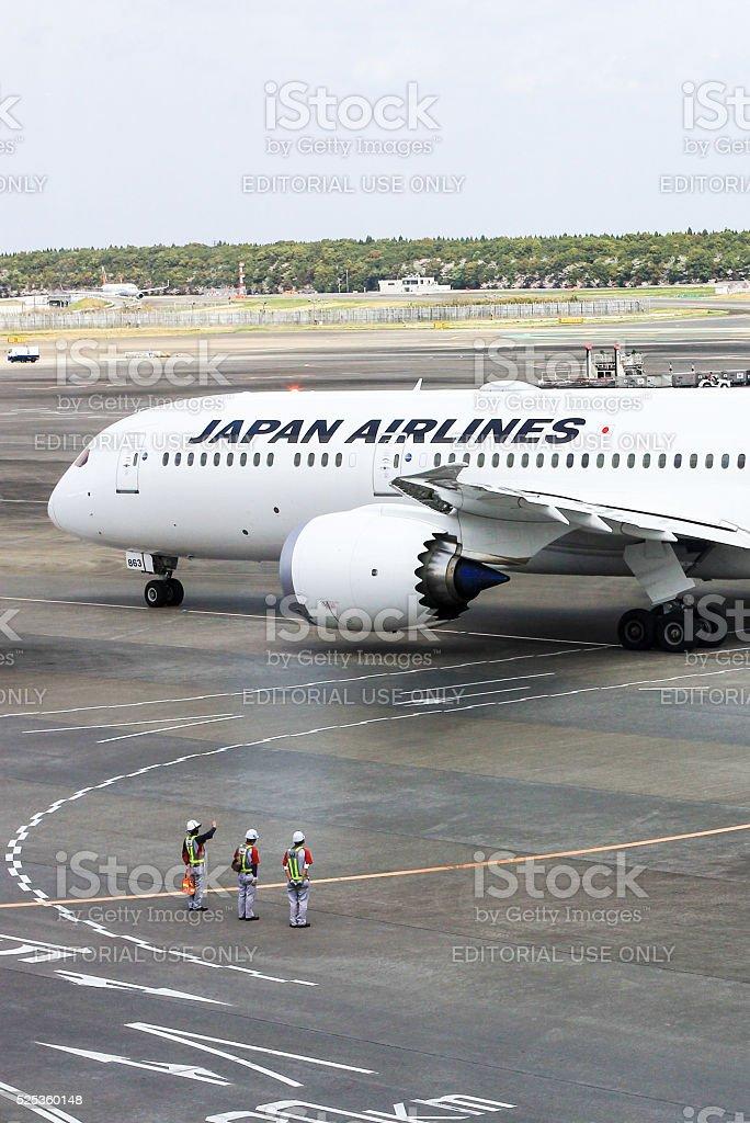 Japan Airlines in Narita Airport, Tokyo stock photo