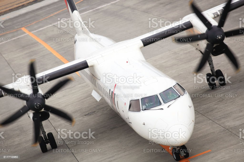 Japan Airlines (JAL) propeller airplane at Kagoshima airport stock photo