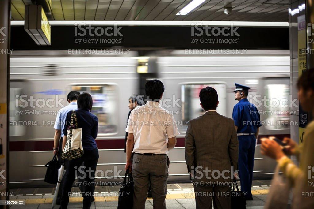 Japan commuters stock photo