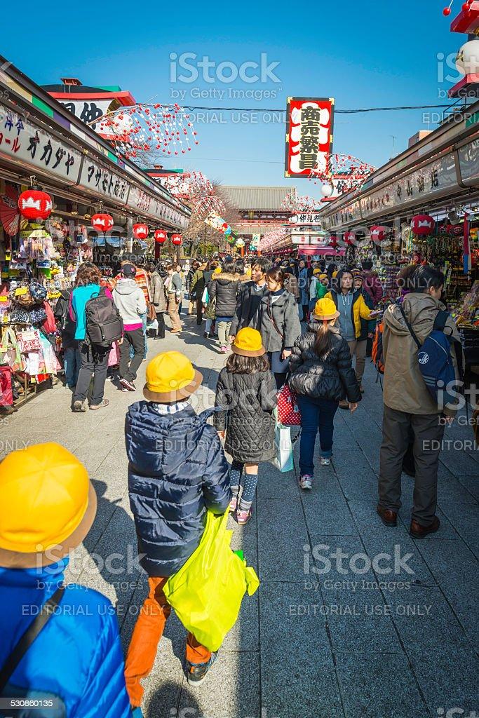 Japan crowds of shoppers at Nakamise-dori market Senso-ji Asakusa Tokyo stock photo