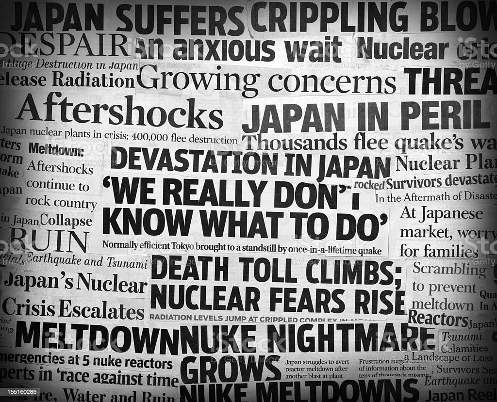 Japan earthquake headline collage two royalty-free stock photo