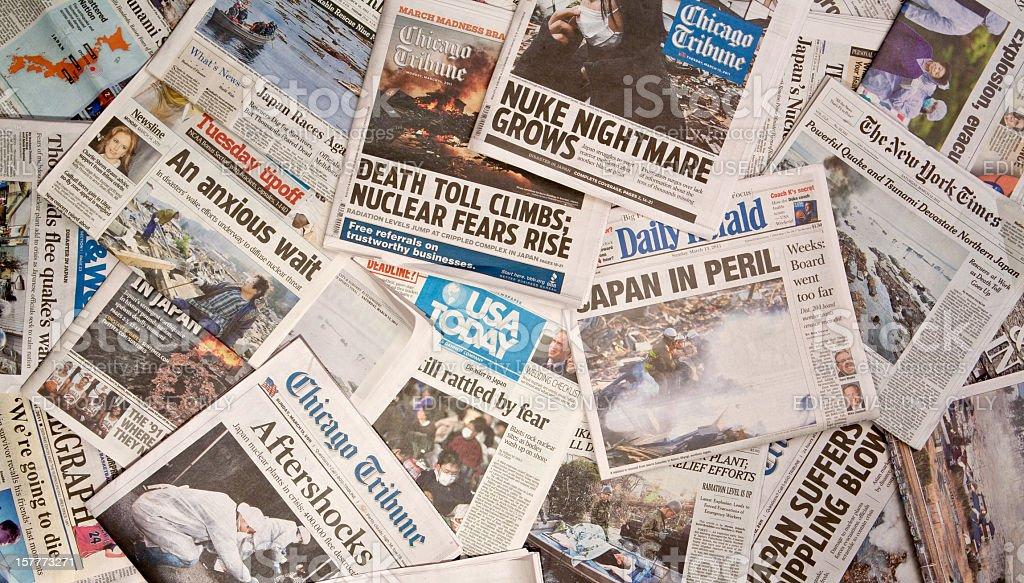 Japan Earthquake Newspaper headlines stock photo