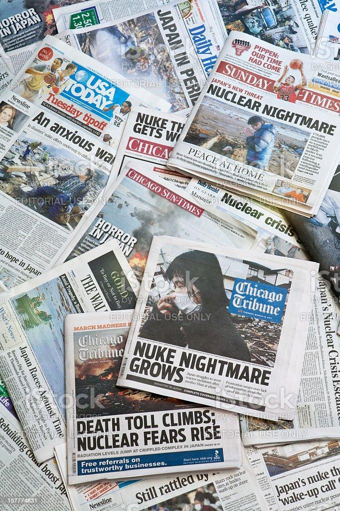 Japan Earthquake Newspaper headlines vertical stock photo