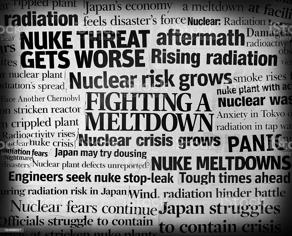 Japan earthquake nuke meltdown headline collage royalty-free stock photo