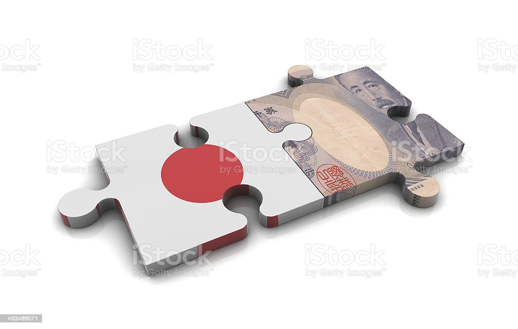 Japan Flag and Yen on Puzzle stock photo