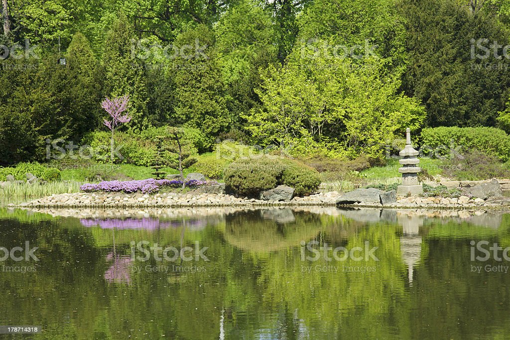japan garden in spring, Wroclaw, Poland stock photo