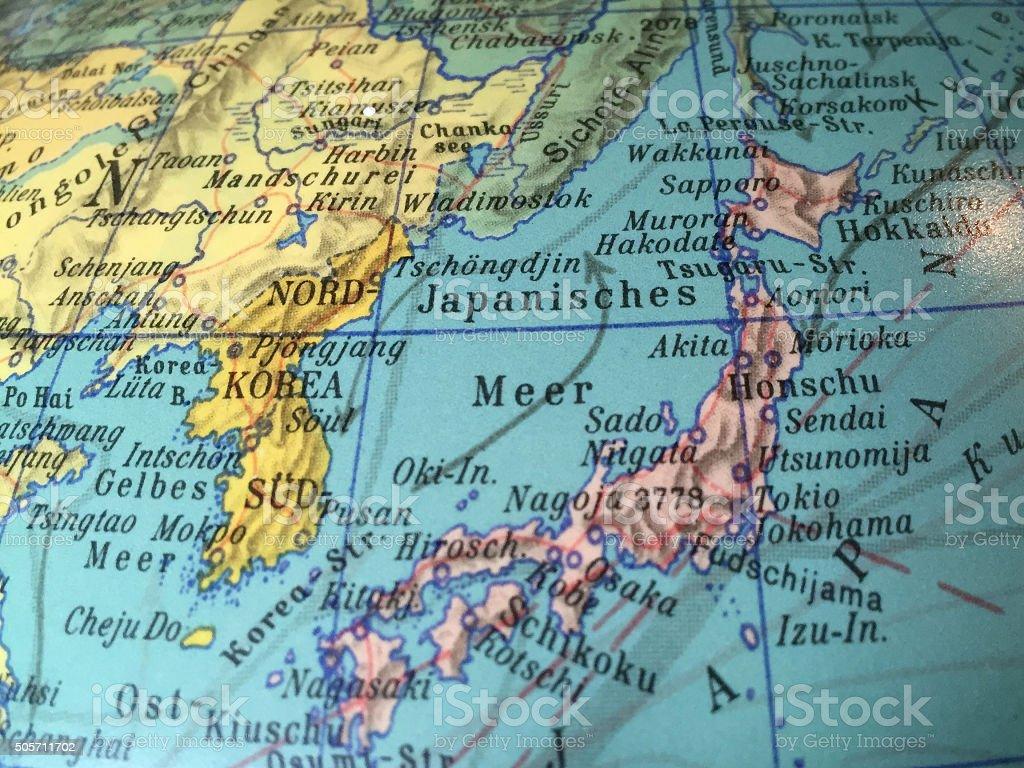 Japan Karte - alter Globus / Weltkarte stock photo