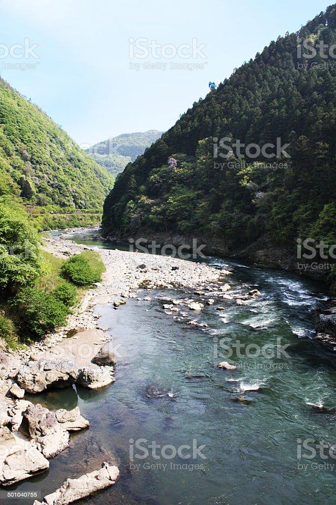 Japan Kyoto. Sagano Arashiyama, Hozu river stock photo
