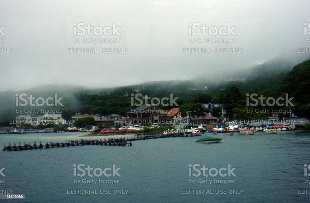 Japan: Lake Ashi (Ashinoko) near Mount Fuji stock photo