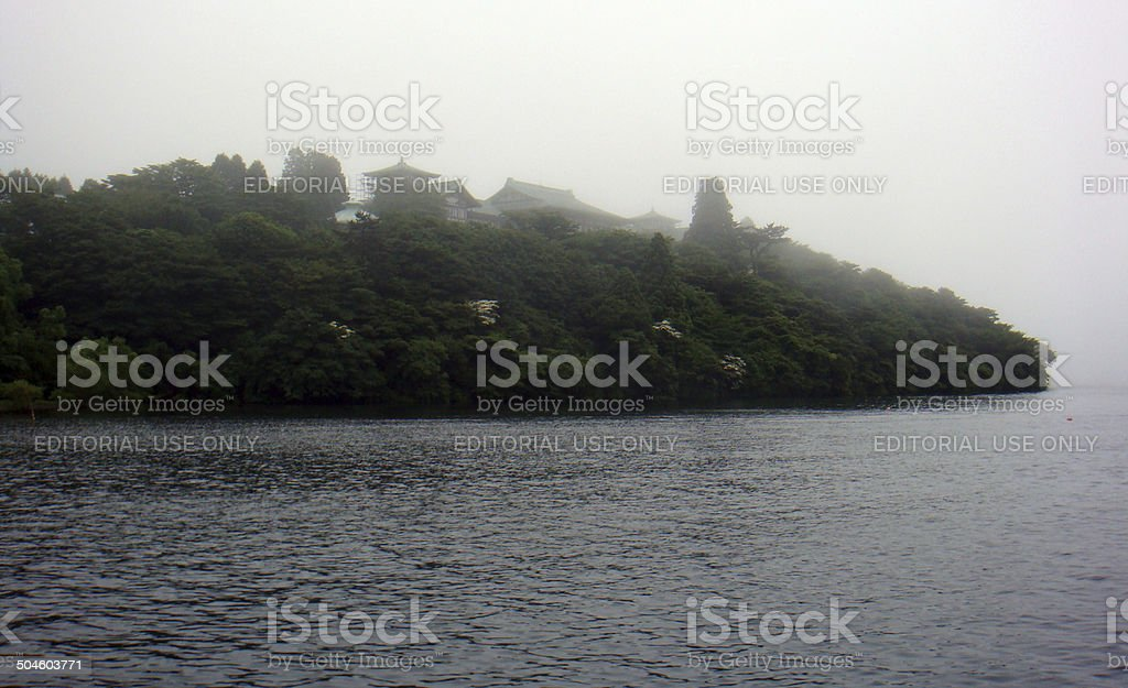 Japan: Lake Ashi (Ashinoko) with Low-Lying Clouds stock photo