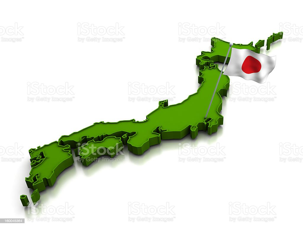 Japan - Map and Flag stock photo