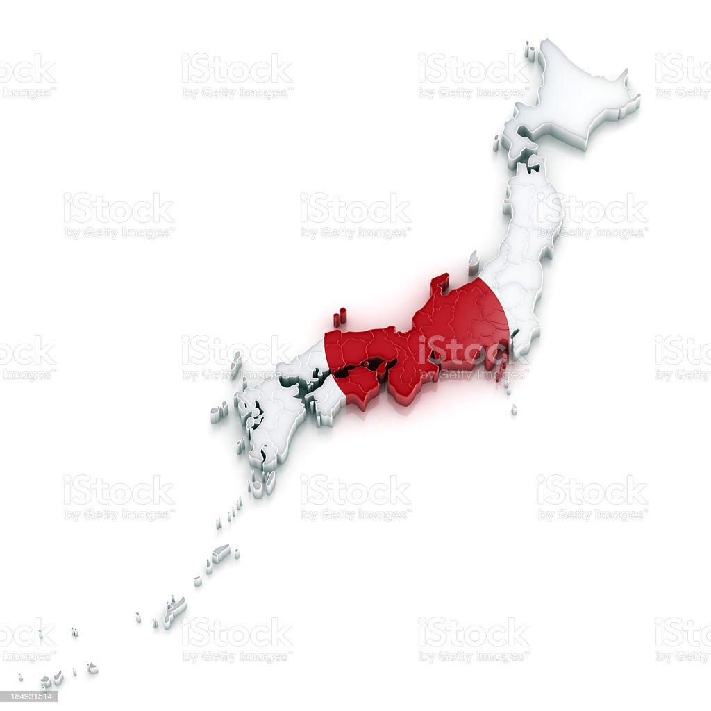 Japan map with flag clipping path embeded royalty-free stock photo