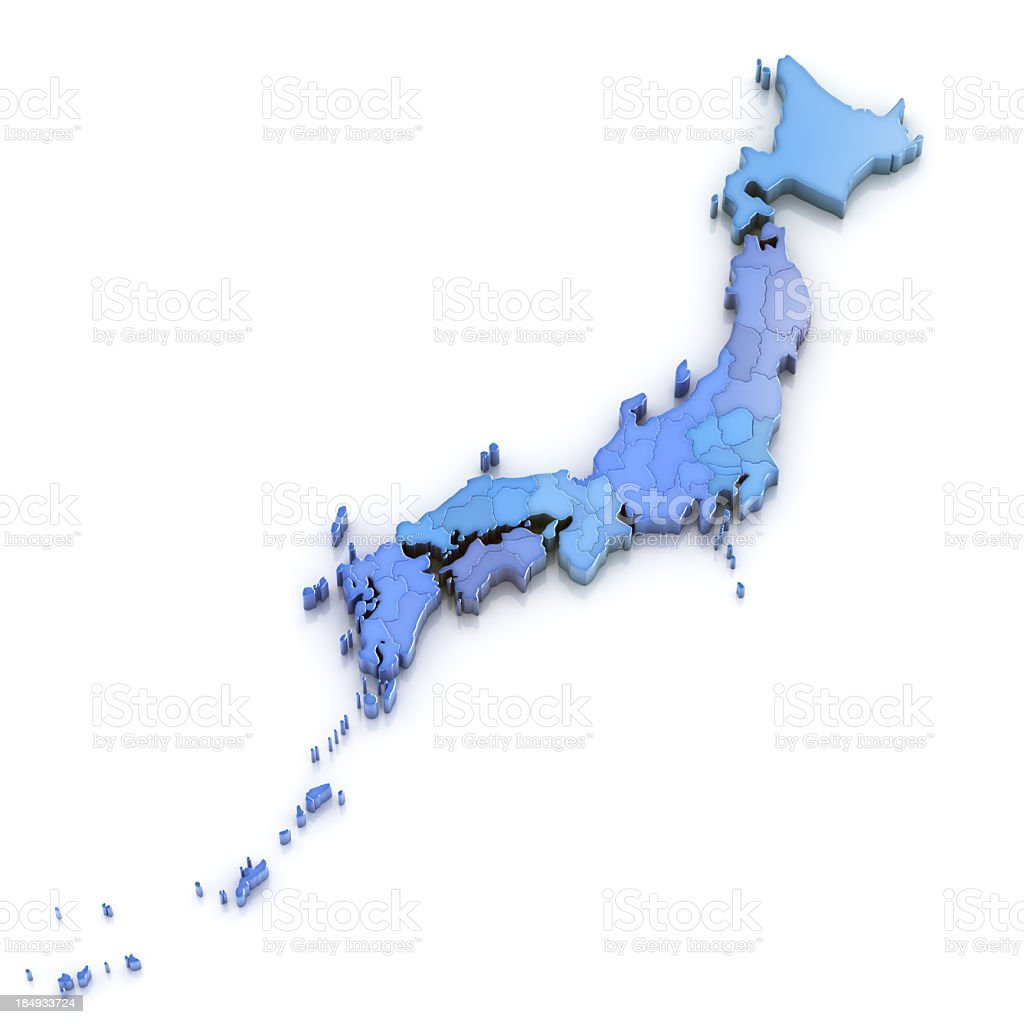 Japan map with regions and prefectures isolated stock photo