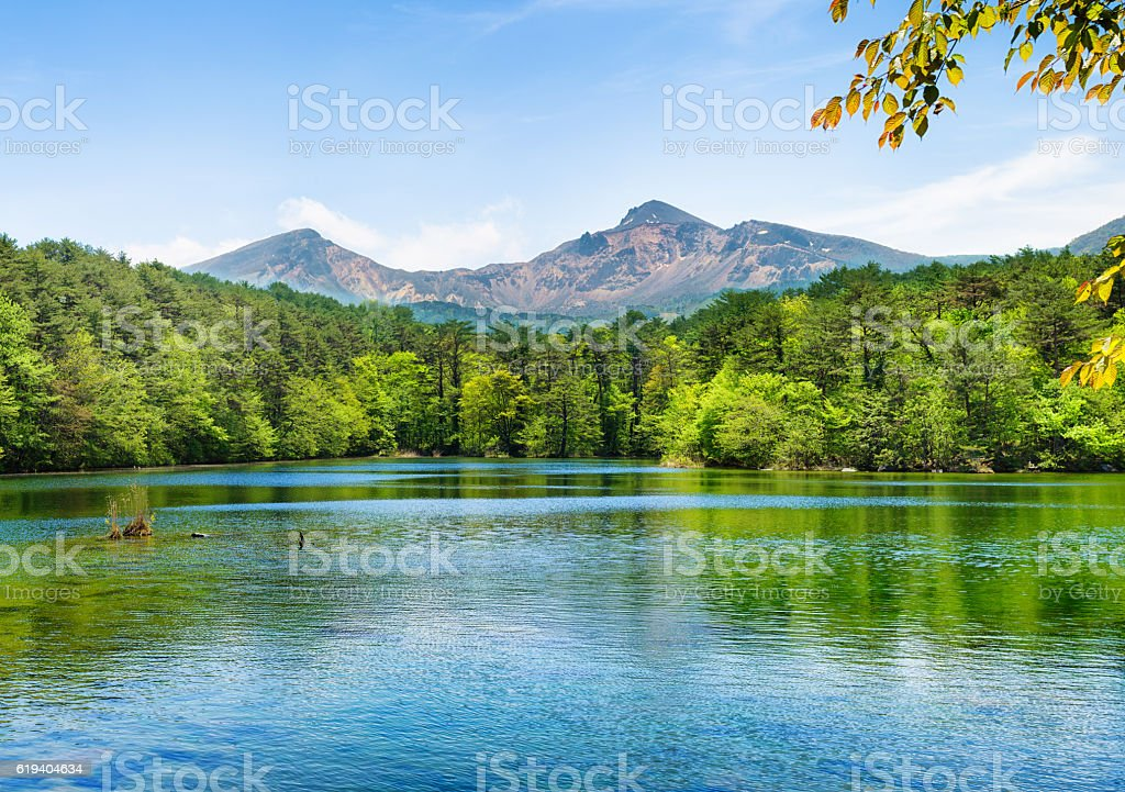 Japan mount Bandai and lake with forest landscape Springtime stock photo