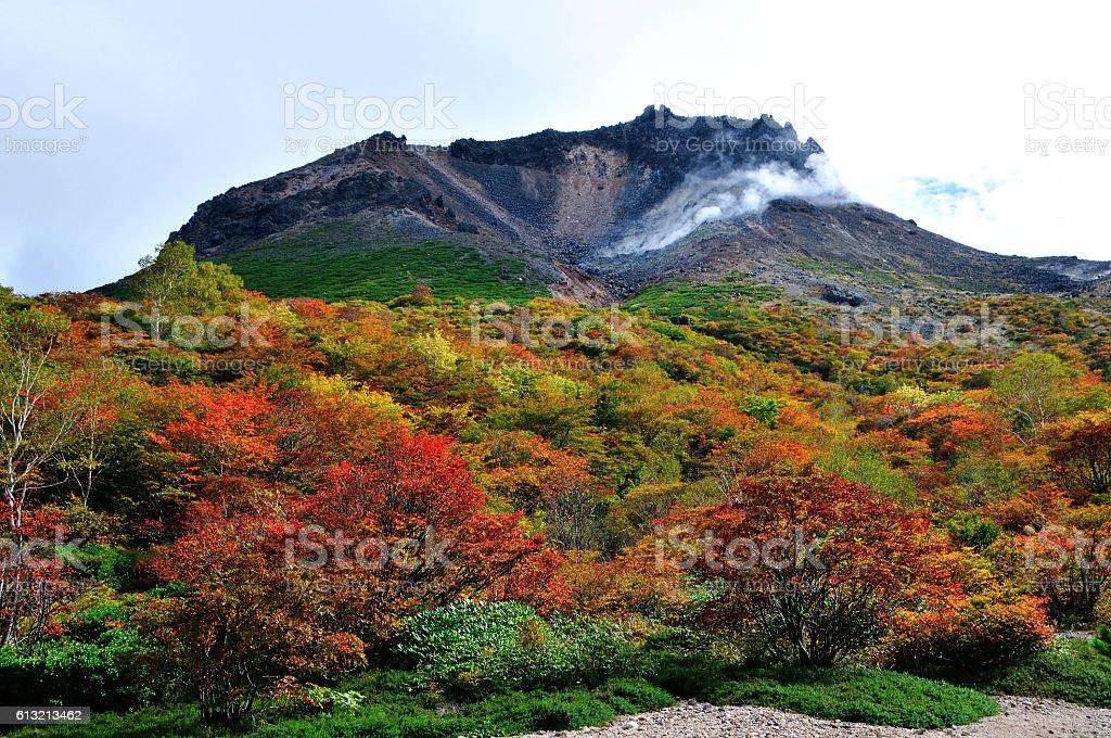 Japan, Mt Chausu in Autumn stock photo