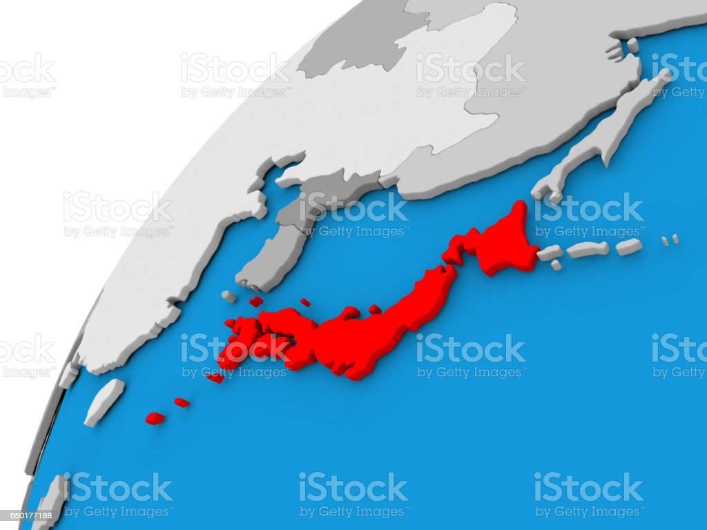 Japan on globe in red stock photo