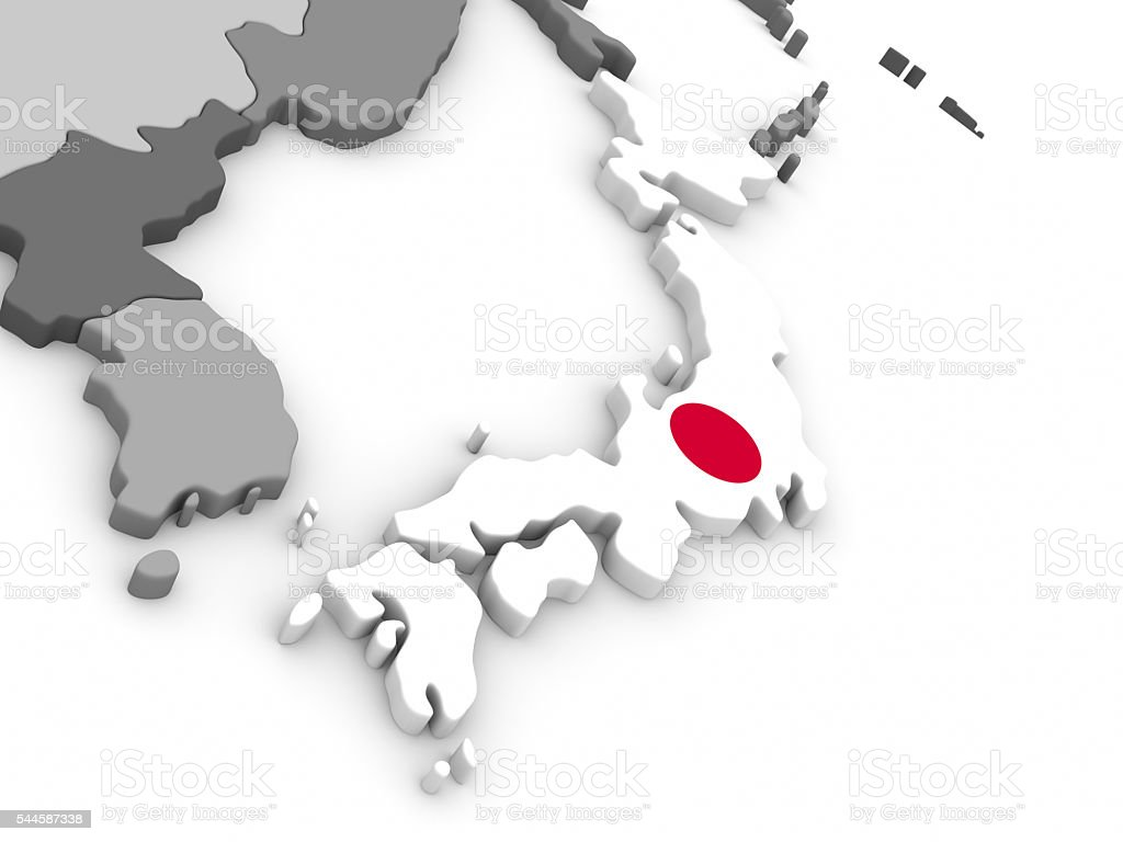 Japan on globe with flag stock photo