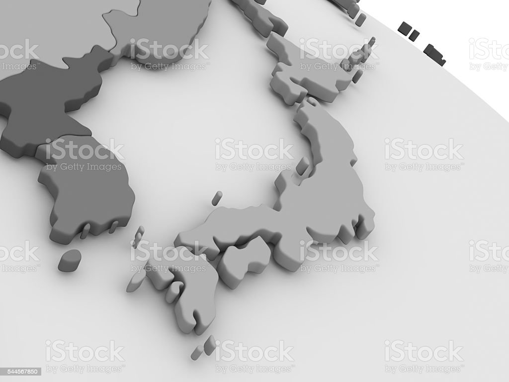 Japan on grey 3D map stock photo