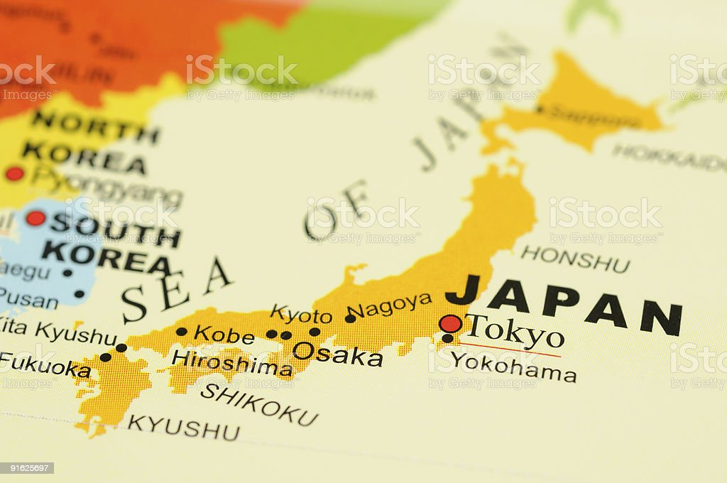 Japan on map stock photo
