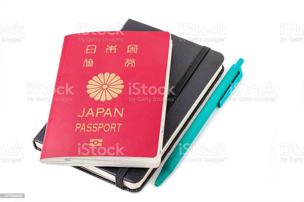 Japan passport, notebook, and pen. royalty-free stock photo