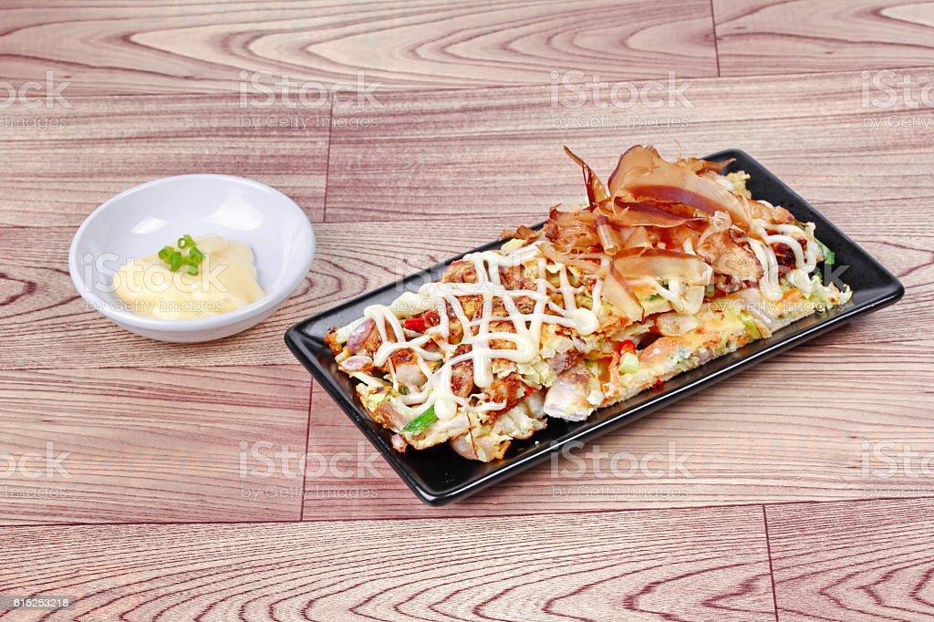 Japan pizza 'Okonomiyaki',side dish. stock photo