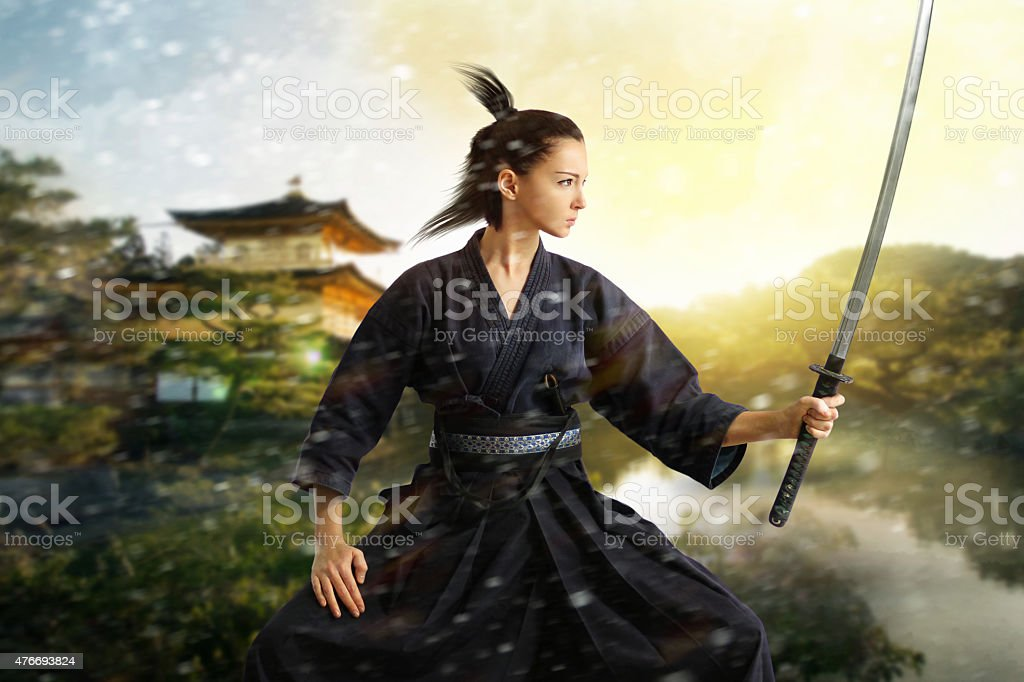 Japan samurai collage stock photo