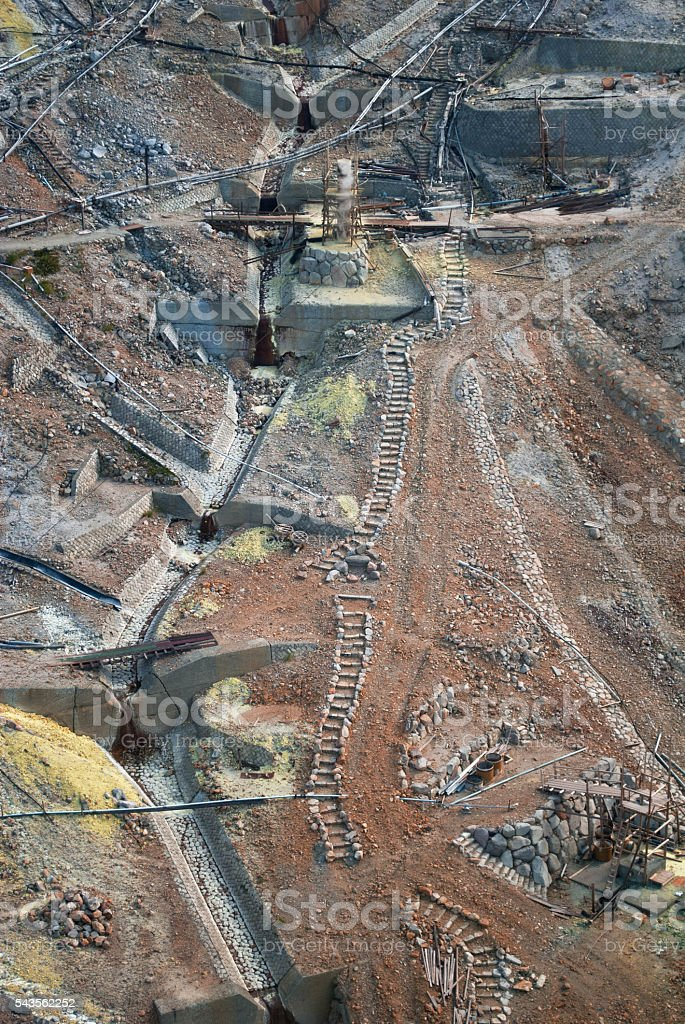 Japan sulphur mine stock photo