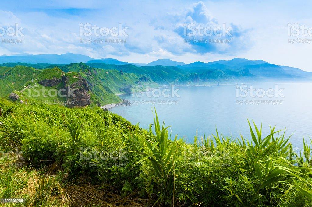 Japan, summer, cape of Hokkaido, North blue sea stock photo