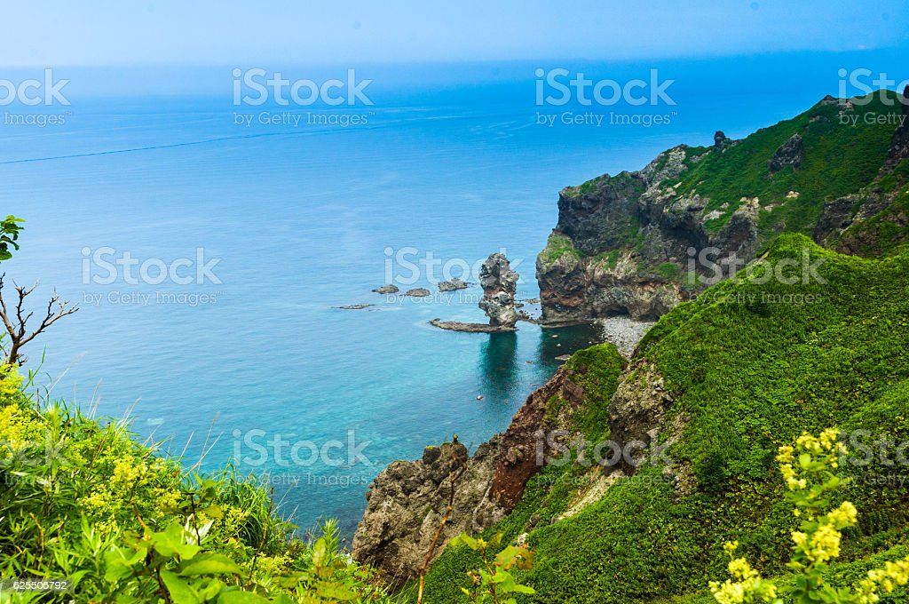 Japan, summer, cape of Hokkaido, North blue sea stock photo