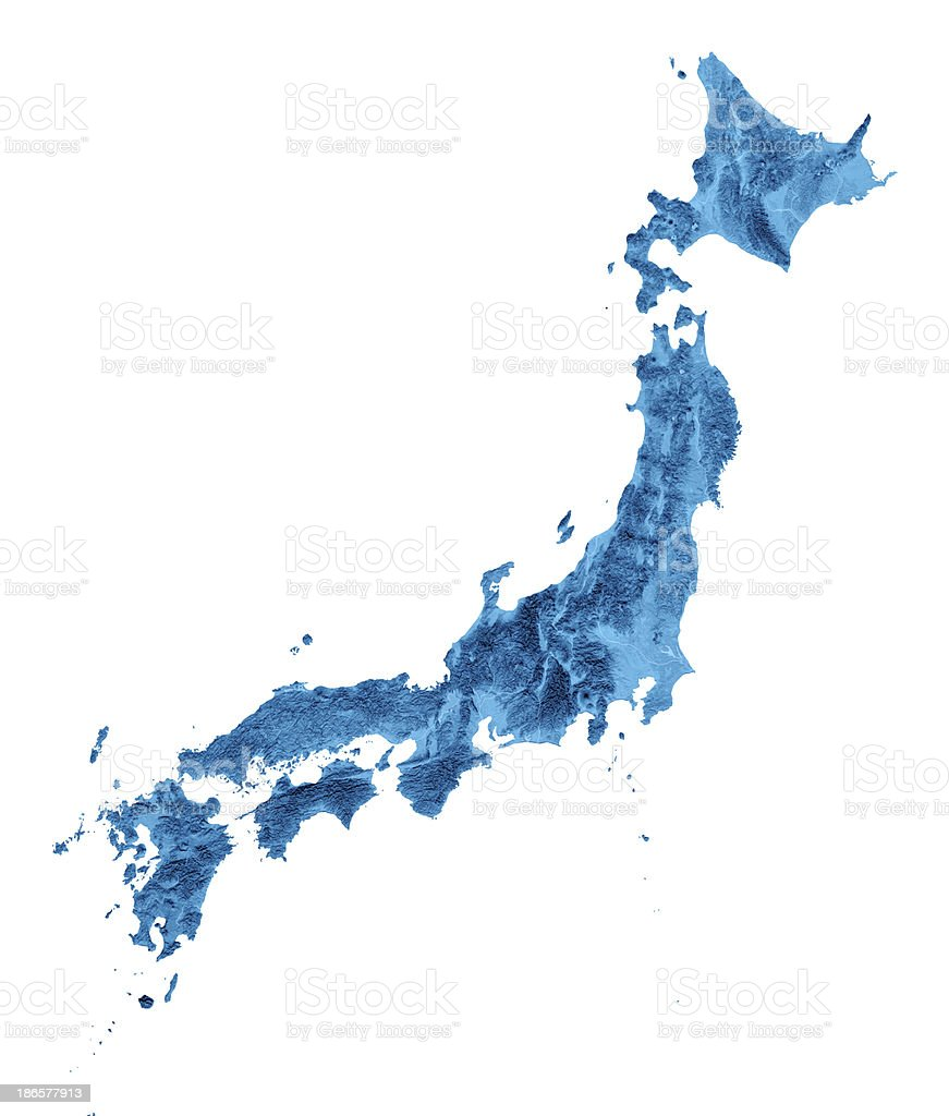 Japan Topographic Map Isolated stock photo