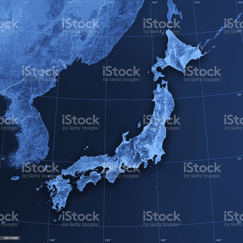 Japan Topographic Map stock photo