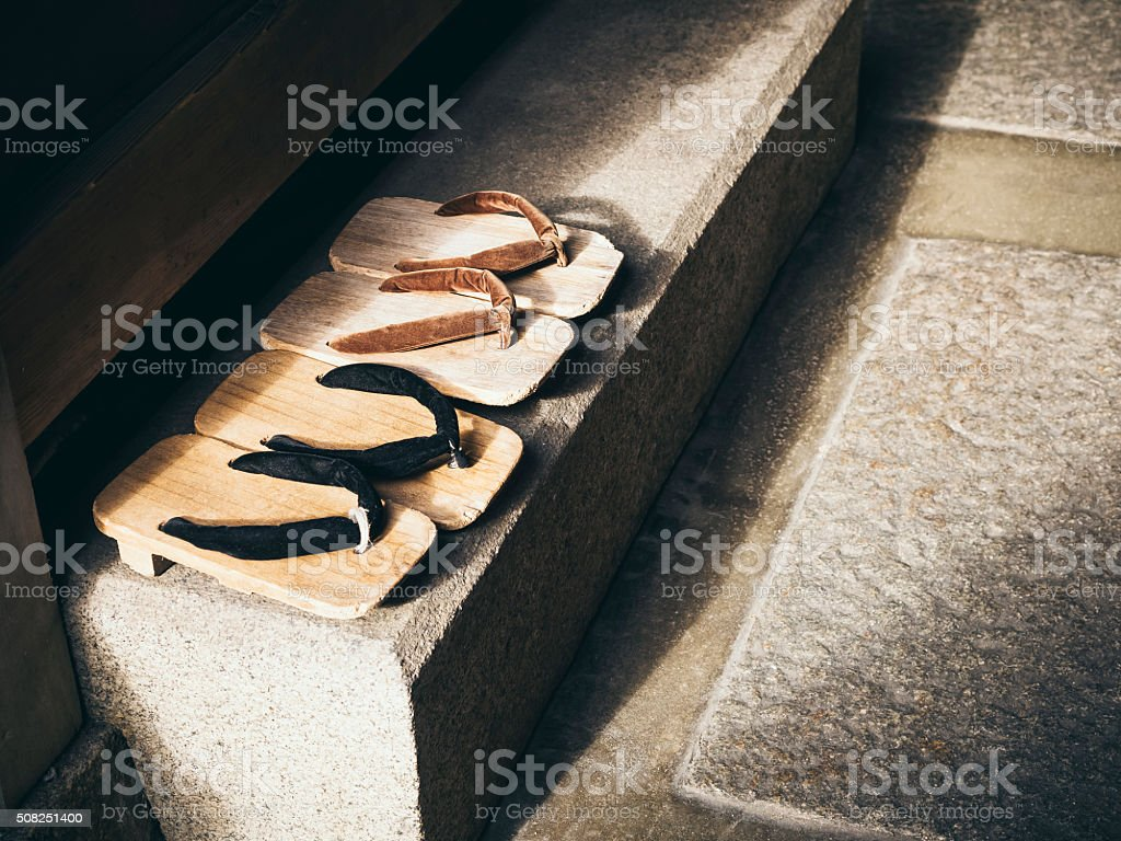 Japan Traditional Footwear Zori in Japanese home stock photo