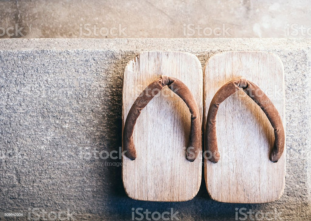 Japan Traditional Footwear Zori on floor Top view stock photo