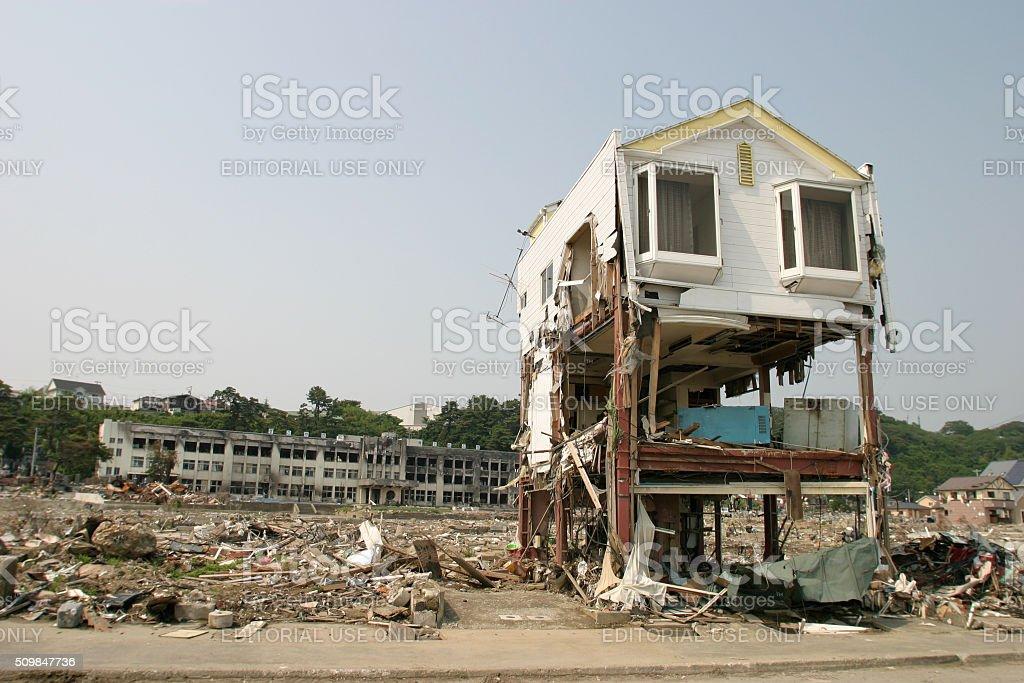 Japan Tsunami 2011 Ishinomaki city destruction Kadonowaki Elementary School stock photo