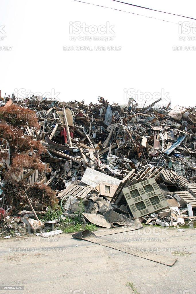 Japan Tsunami Earthquake 2011 Ishinomaki city destruction piles debris stock photo