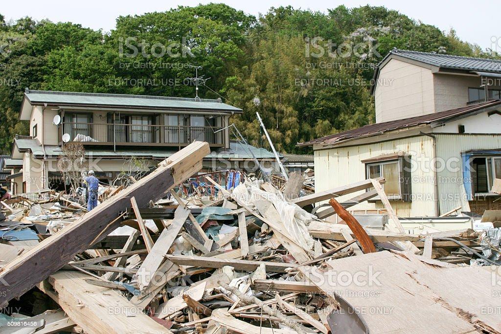 Japan Tsunami Earthquake 2011 Murohama village destruction stock photo
