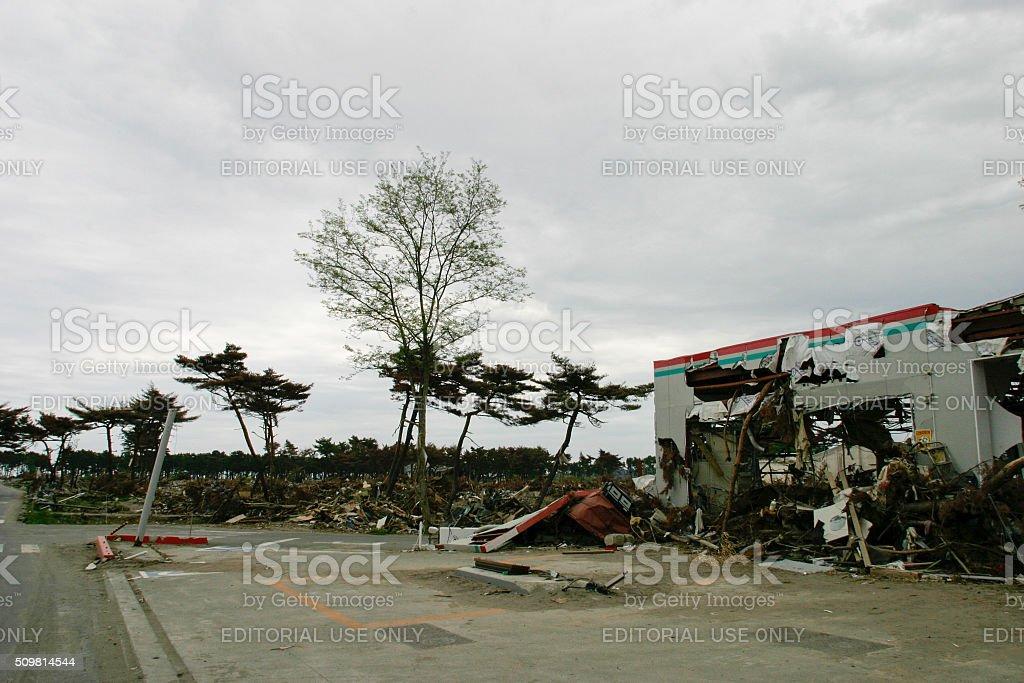 Japan Tsunami Earthquake 2011 Nobiru city destruction stock photo