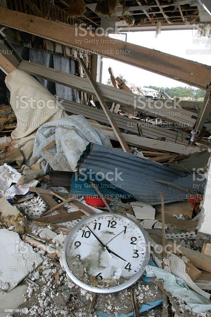 Japan Tsunami Earthquake 2011 Nobiru city destruction School stock photo