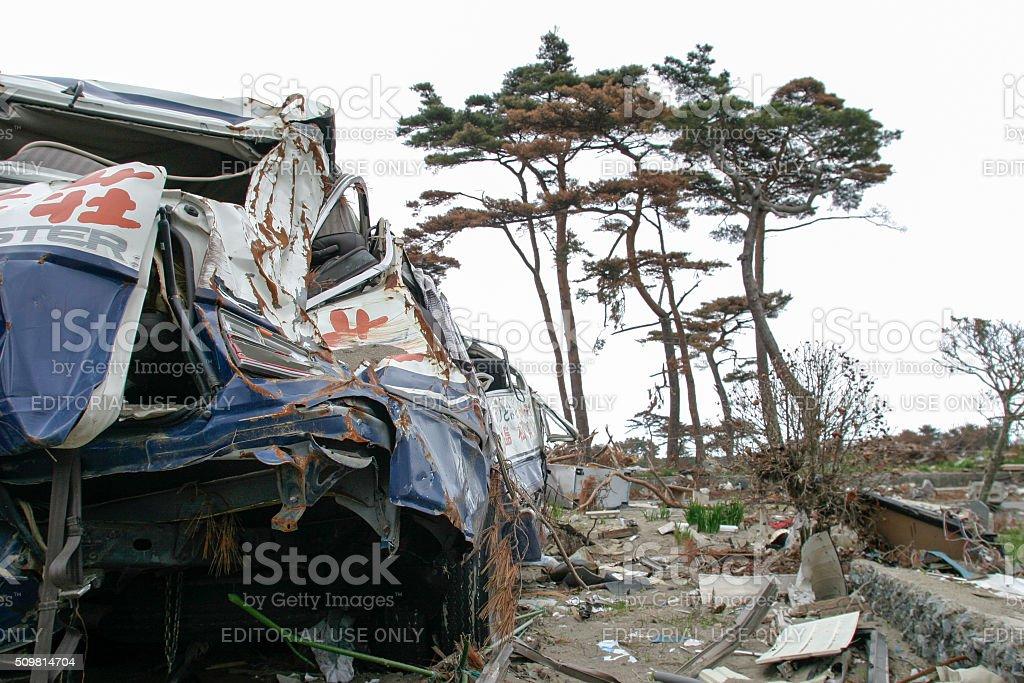 Japan Tsunami Earthquake 2011 Nobiru city destruction Tour Bus stock photo