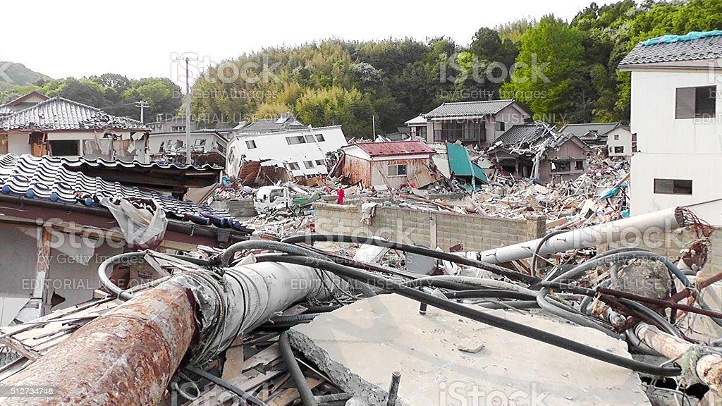Japan Tsunami Earthquake 2011 Ohama village destruction stock photo