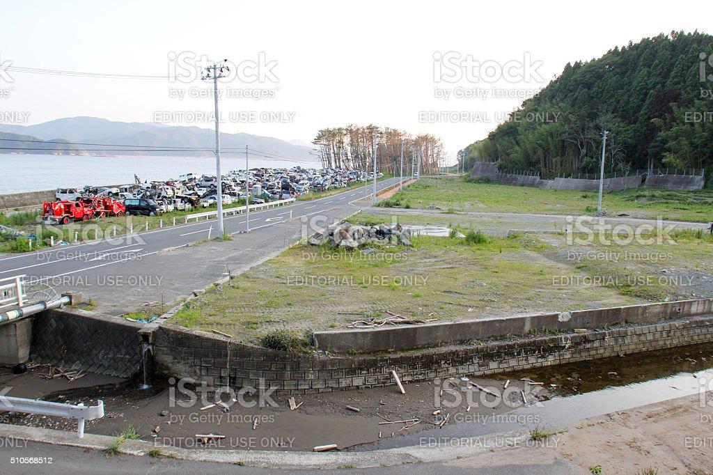 Japan Tsunami Earthquake 2011 piles of cars stock photo